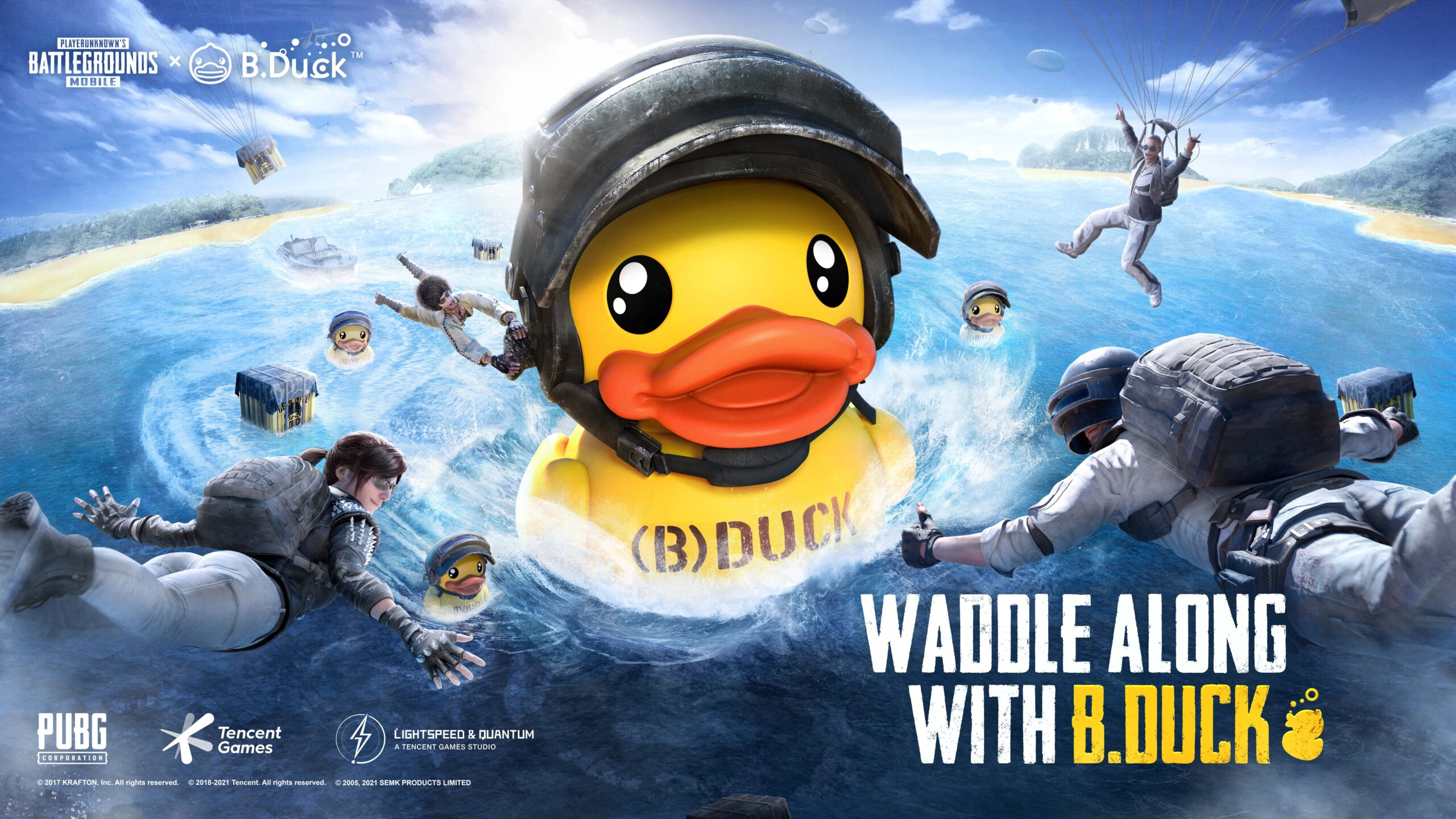Little flippers make a big splash as PUBG MOBILE reveals a new partnership crossover with hit IP Character B.Duck. Beginning from Feb 24, PUBG MOBILE fans and B.Duck enthusiasts alike can drop into classic maps for specially-themed in-game collectibles and festive events, on the App Store and Google Play.